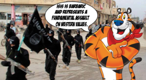 Heckler NIP Marketing Win! Frosted Flakes Cereal Ads Now Feature Condemnation of ISIS by Tony the Tiger